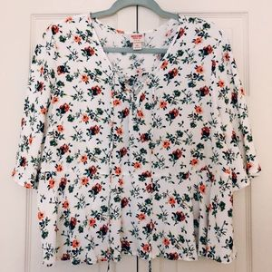 Target brand white top- floral / wide sleeves